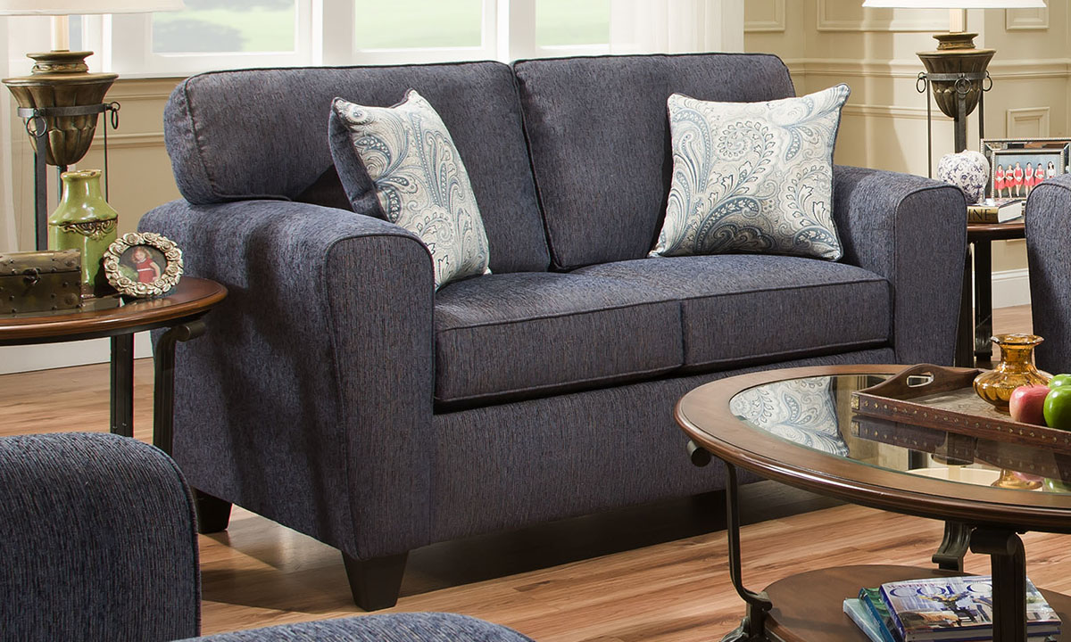 Denim blue stain-resistant fabric loveseat with two throw pillows