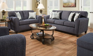 Kinsley Denim Living Room Collection featuring the Sofa and Loveseat.
