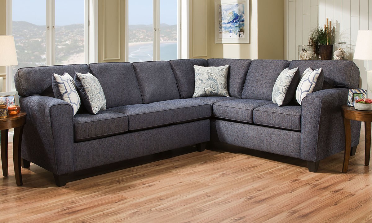 L-shaped sectional features denim blue stain-resistant fabric upholstery