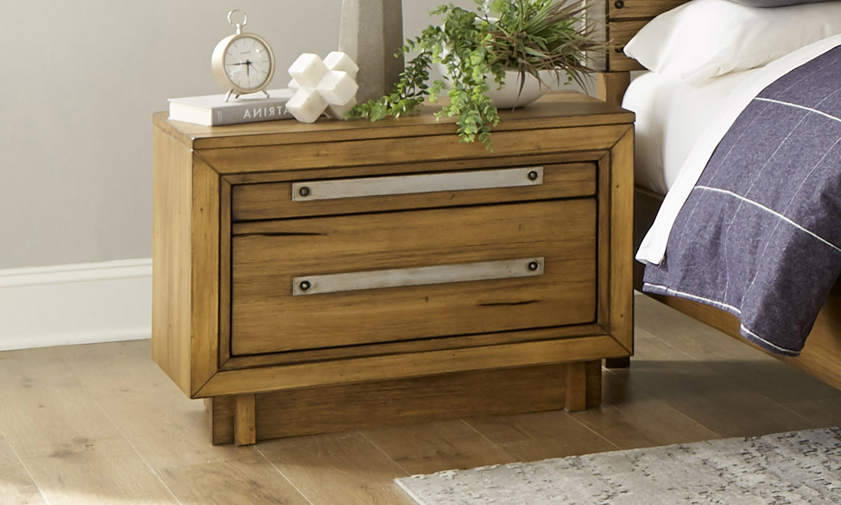 Forest Lane Brown Solid Pine 2-Drawer Nightstand