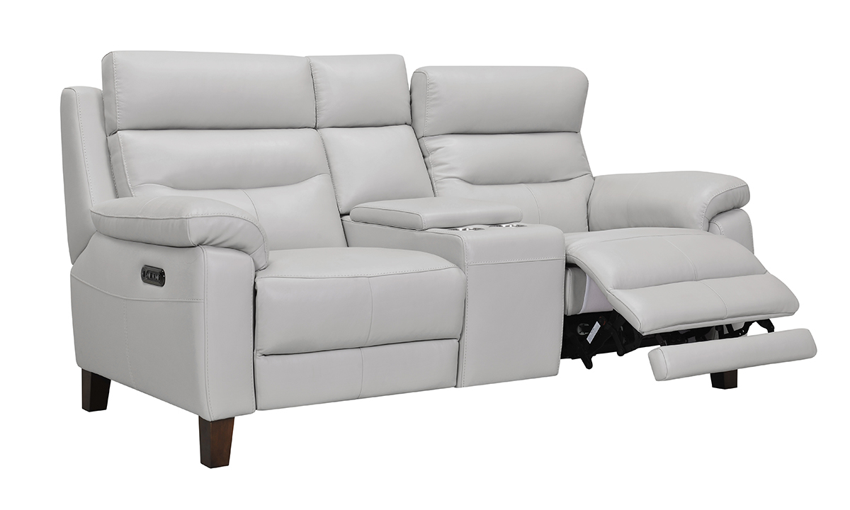 Jessica Jacobs Bergamo Dove Leather Power Reclining Console Loveseat