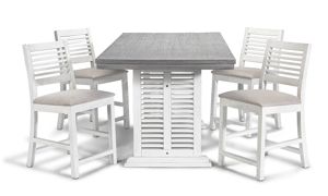 Stone Ivory and Grey 5-Piece Counter Height Dining Set