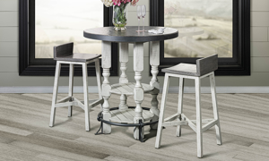 Stone Ivory and Grey Round Bar Height Bistro Table