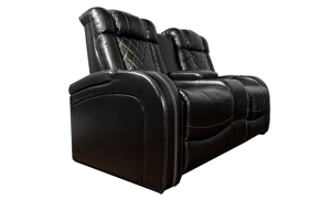 Power reclining transformer loveseat with storage, cupholders and LED lights in black top-grain leather