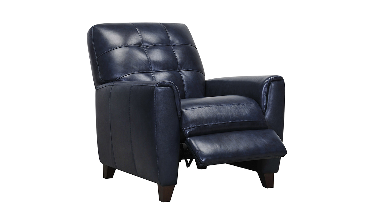 Violino leather recliner in midnight blue.