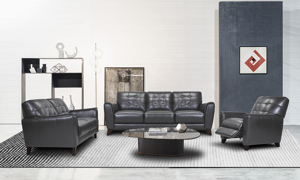 Metro Pewter Leather Collection includes sofa, loveseat and recliner.