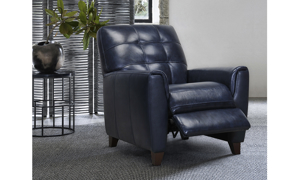 Top-grain leather recliner with walnut finish wood legs.