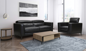 Violino black leather couch and chair from the uptown collection.