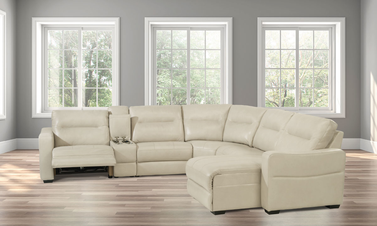Monet Pearl Power Reclining Leather Sectionals