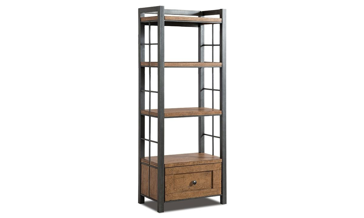 Rustic 60-inch tall bookcase with four wheat finished wood shelves and drawer with pewter frame