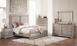 Krystal Platinum Upholstered Bedroom Sets