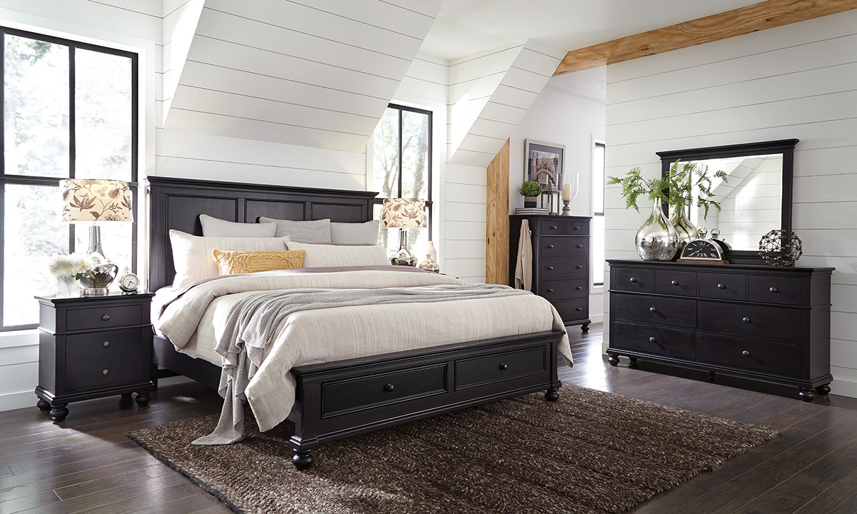 Oxford Black Panel Storage Bedroom Sets