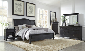 Oxford Black Sleigh Beds