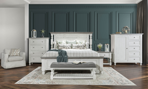 Stone Ivory and Grey King Panel Bedroom Set