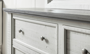 Stone Ivory and Grey distressed dresser. Affordable bedroom storage.