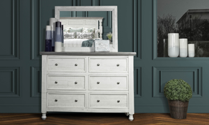 Stone Ivory and Grey dresser and mirror. Affordable bedroom furniture.