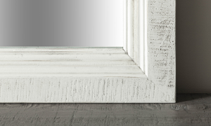 Weathered Stone Ivory mirror. Affordable farmhouse style bedroom furniture.