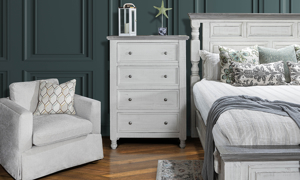 54 inch stone ivory and grey chest. Affordable bedroom furniture.
