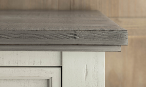Stone and Ivory Grey Chest. Solid wood bedroom storage furniture.