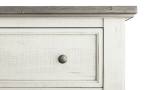 Distressed Stone and Ivory Grey Chest. Solid wood bedroom storage furniture.