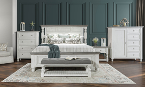 Stone Ivory and Grey bedroom furniture set. Farmhouse styled bedroom sets.