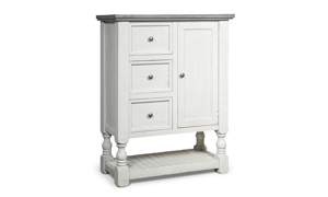"""49"""" tall chest in stone ivory and grey finish. Shop bedroom storage furniture now on sale."""