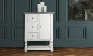 Storage chest in stone ivory and grey finish. Shop bedroom storage furniture now on sale.