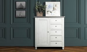 """61"""" tall Stone Ivory and Grey Gentleman's Chest. Affordable cottage style bedroom storage furniture."""
