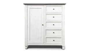 Stone Ivory and Grey Gentleman's Chest. Cottage style bedroom storage furniture at outlet prices.