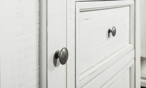 Stone Ivory and Grey Gentleman's Chest. Distressed bedroom storage furniture at outlet prices.