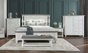 Stone Ivory and Grey bedroom furniture set. Affordable bedroom sets available at Haynes Furniture.