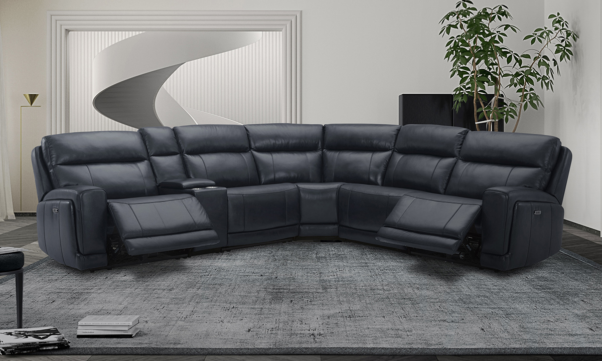 Leather power reclining sectional in Navy Blue. Shop top-grain leather sectionals at outlet prices.