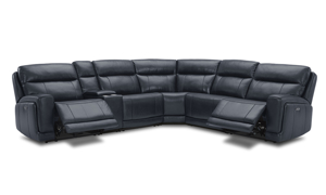 Leather sectional in navy blue with 3 power recliners. Find more leather sectionals at great prices.