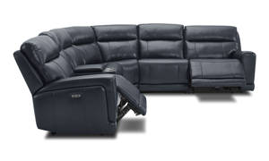 Power sectional in navy top grain leather with three recliners. Affordable sectionals now on sale.