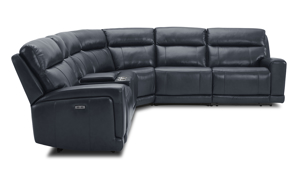 Power sectional in navy top grain leather. Affordable sectionals now on sale.