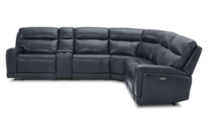 Power sectional in navy top-grain leather. Affordable sectionals now on sale.