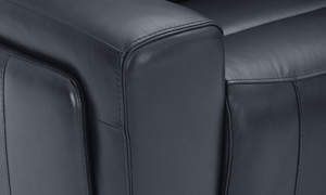 Power sectional in navy top-grain leather featuring track arms. Affordable sectionals now on sale.