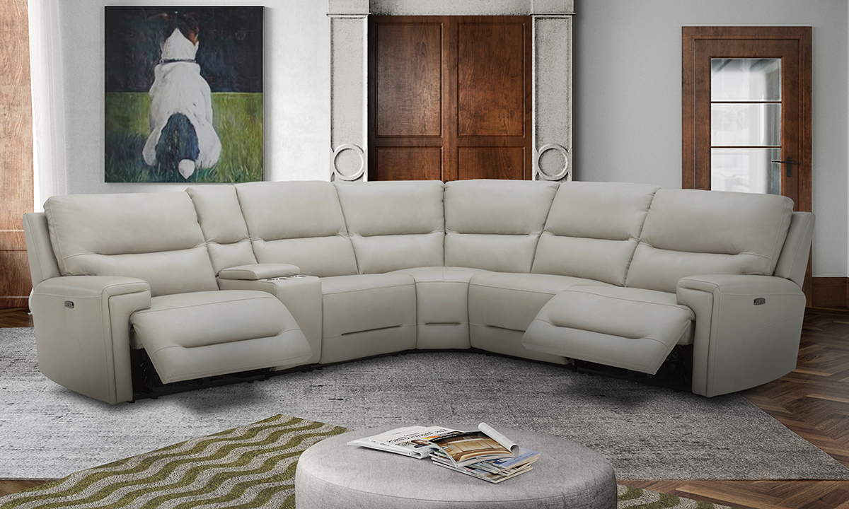 Leather power reclining sectional in cream. Shop top-grain leather sectionals at outlet prices.