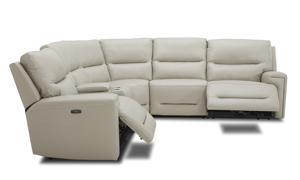 Power sectional in neutral cream top grain leather with three recliners. Affordable sectionals now on sale.