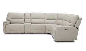Power sectional in cream top-grain leather. Affordable sectionals now on sale.