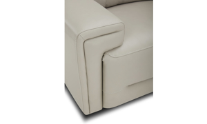 Power sectional in neutral top-grain leather featuring layover arms. Affordable sectionals now on sale.