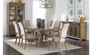 Cardoso Sandstone table and chairs, china cabinet and server.