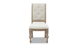 Cardoso Sandstone side chair from Klaussner upholstered in a button tufted neutral beige.