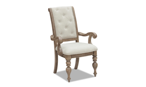 Cardoso Sandstone arm chair from Klaussner featuring an upholstered seat and tufted back.