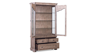 Cardoso Sandstone display cabinet features a lighting system in the upper glass case.