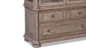 Cardoso display cabinet from Klaussner has a sandstone finish.