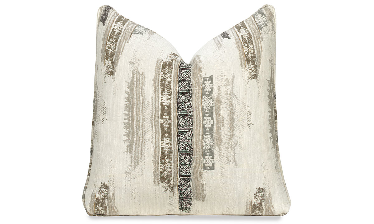 Plush 22-inch feather down accent pillow in cream with boho-chic pattern in tan and black