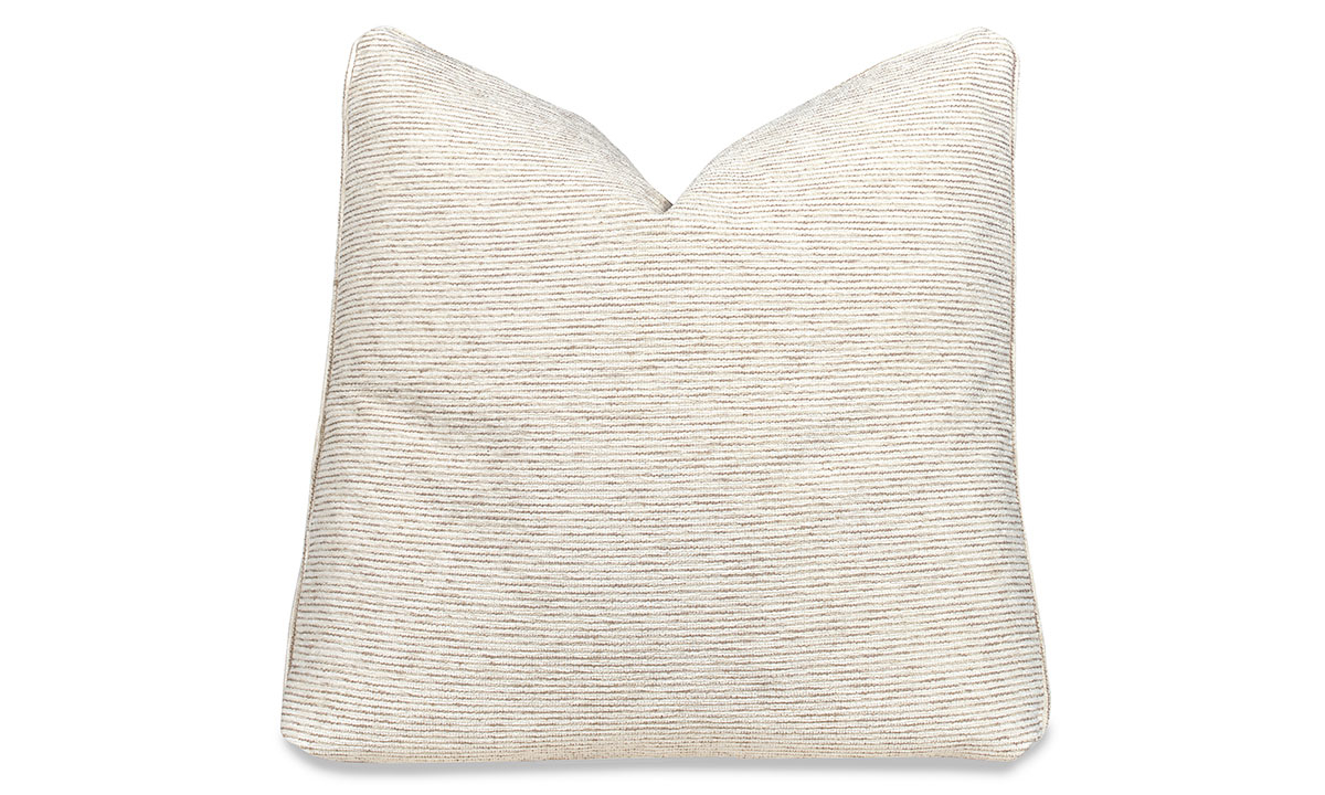 Plush 22-inch feather down pillow in a cream stripe stain resistant fabric