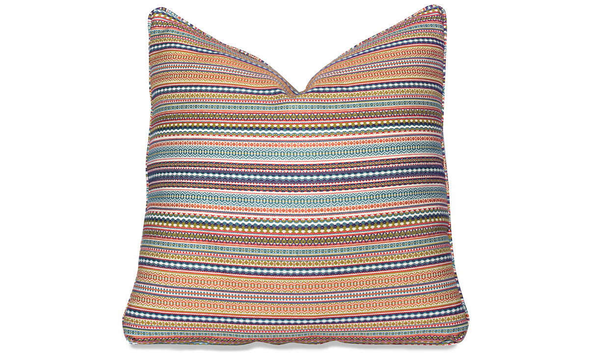 Plush 22-inch feather down accent pillow in multicolored blue, yellow and orange stripe pattern