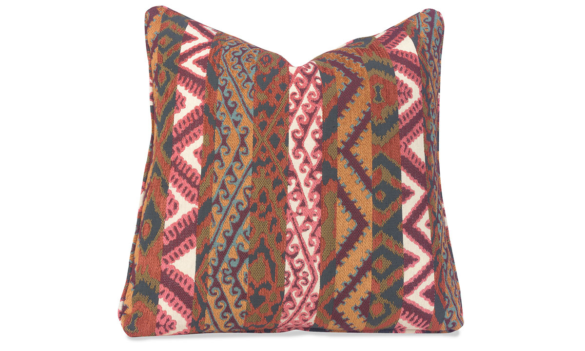 Plush 22-inch plush feather down pillow with colorful red, green, gold and white pattern